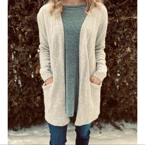 MADEWELL wool ryder cardigan light grey